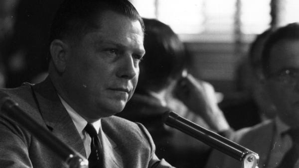 Jimmy Hoffa in 1958 testifying at a hearing investigating labor rackets.