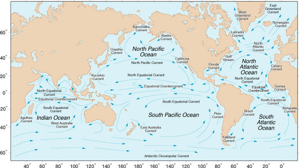 Chart showing main ocean currents.