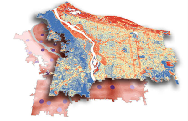 <p>A layered map of the city could help pinpoint the places that are most vulnerable in heat waves.</p>