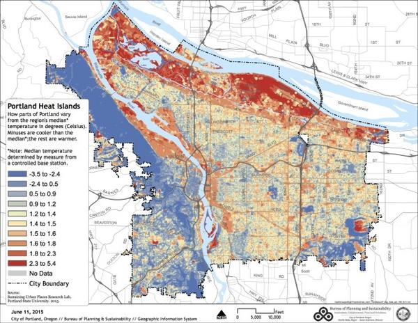 <p>A map of Portland's urban heat islands, the parts of the city that see hotter temperatures in heat waves.</p>