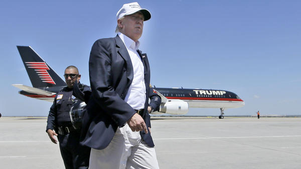 Republican presidential hopeful Donald Trump in front of his campaign plane in Laredo, Texas, last week.