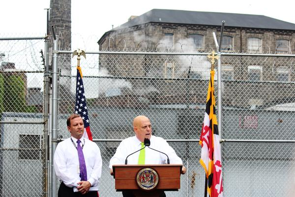 Gov. Larry Hogan and Department of Public Safety and Correction Services Secretary Stephen Moyer at the Baltimore City Detention Center.