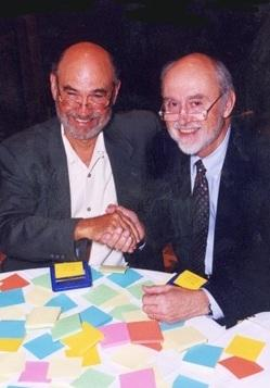 Spencer Silver (left) and Art Fry, inventors of the Post-it Note, say the iconic canary yellow was first used because their lab only had scrap yellow paper on hand.