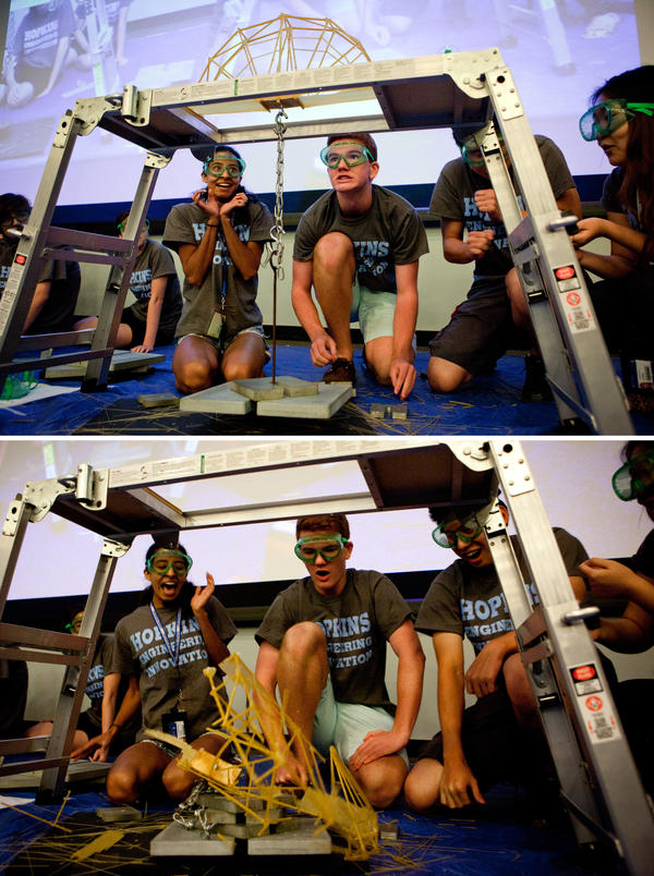 High school students in the Johns Hopkins University summer program, Engineering Innovation, compete in an annual spaghetti bridge-building competition. <strong>Above:</strong> The A'hunna Key-Lows push their bridge to the limit. <strong>Below:</strong> The Key-Lows' winning bridge shatters — but only after holding 53 pounds.