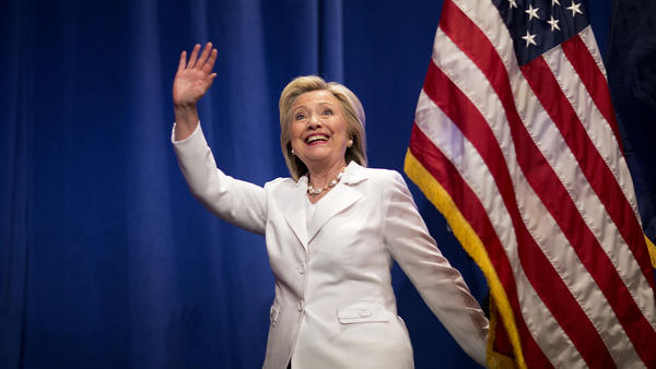 Democratic presidential candidate Hillary Clinton steps onstage before speaking at Trident Technical College during a campaign stop on June 17 in North Charleston, S.C.
