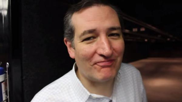 Presidential candidate Ted Cruz trying bacon — made on a machine gun — at the end of a new video.