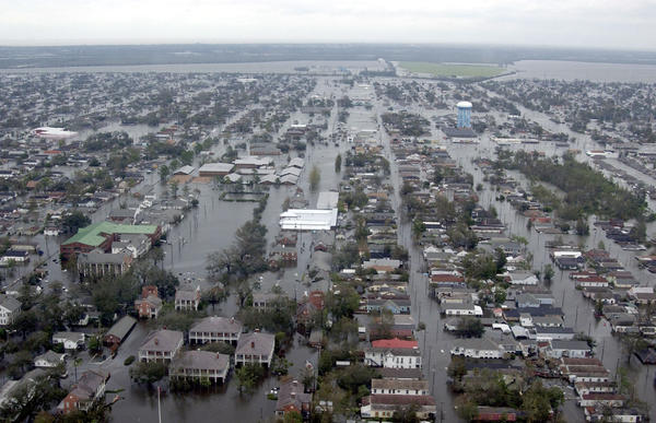 Flooded neighborhoods of New Orleans as the Coast Guard conducted its initial damage assessment on Aug. 29, 2005 after Hurricane Katrina made landfall as a Category 4 storm. (Kyle Niemi/US Coast Guard via Getty Images)