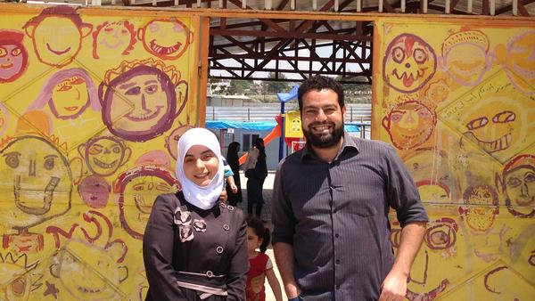 The staff at the Al Salam school in southern Turkey are also Syrian refugees. Maaly Hassan is a secretary and member of executive committee, while Abdul Jabbar al-Hasan is an English teacher and administrative director.