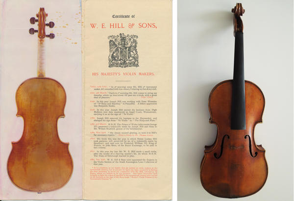(Left) Documentation of the Ames Stradivarius. (Right) An image of the Stradivarius when the FBI collected it last month.