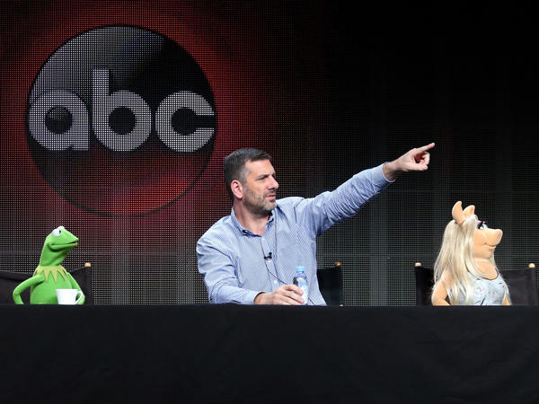 Kermit the Frog, writer/executive producer Bob Kushell and Miss Piggy answer questions from journalists at the 2015 Summer TCA Tour.