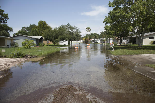 While an evacuation was not ordered for Gulf Highlands residents in Port Richey, a couple neighbors vacated their homes after street flooding made it difficult to drive. Water reached into about four houses.
