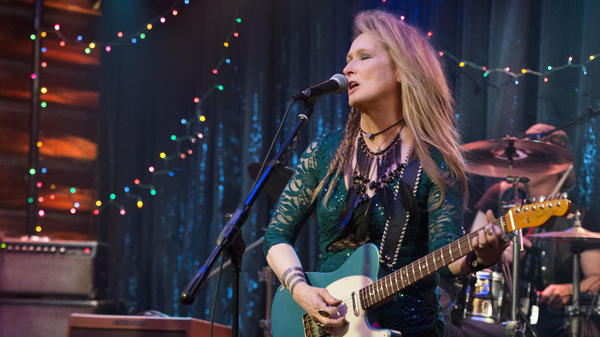 Ricky (Meryl Streep) performs at the Salt Well in a scene from <em>Ricki and the Flash</em>.