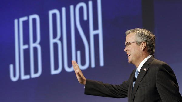 Former Florida Gov. Jeb Bush waves while being introduced before speaking at the National Automobile Dealers Association convention in San Francisco in January.