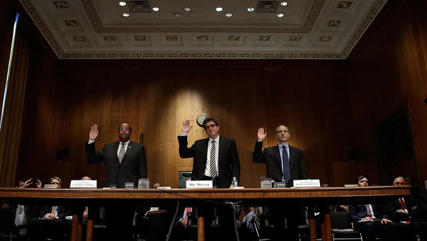 J. Russell George, Treasury inspector general for tax administration (from left), Acting IRS Commissioner Steven Miller and former IRS Commissioner Douglas Shulman before they testified to the Senate Finance Committee in 2013.