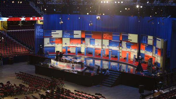 The stage for the Republican presidential primary debate is seen at the Quicken Loans Arena in Cleveland.