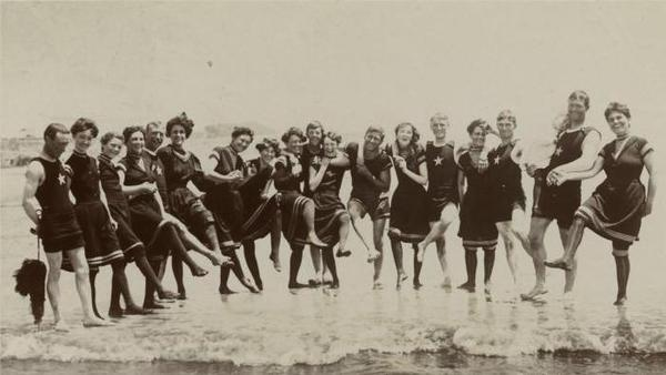 Bathers at the beach, 1906.