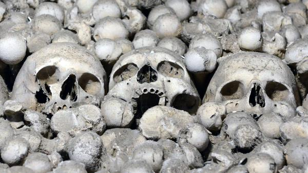 Skulls and bones are seen in the ossuary chapel in the Czech Republic town of Sedlec, one of the sites Denise Inge describes in her book, <em>The Tour of Bones.</em>