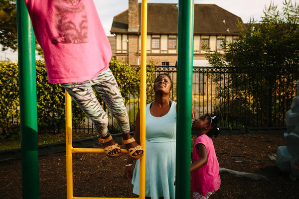 Briceshanay Gresham (center) takes her daughter Uri (right) and sister Dyha to their neighborhood playground in New Orleans. Briceshanay was in college during Katrina and escaped swirling, waist-high water with only the clothes she was wearing that day.