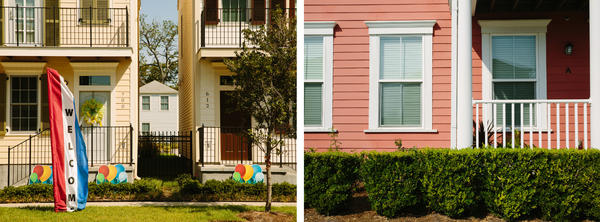 Details of homes in the Faubourg Lafitte housing development (left) and Harmony Oaks housing development show architecture intended to reflect the charm and character of New Orleans.