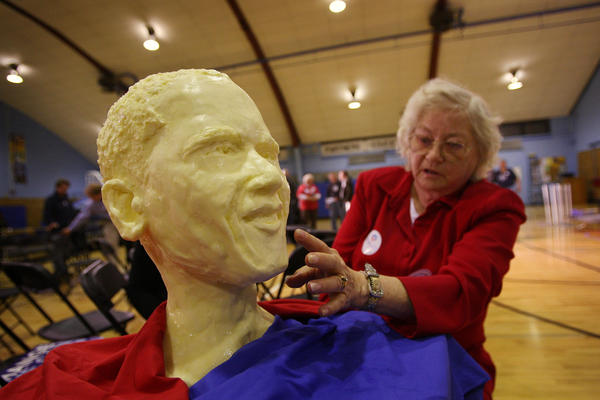 The late Norma Lyon, who sculpted butter for the fair for 46 years, created a bust of then-Sen. Barack Obama in 2007. The bust was made from 23 pounds of butter.