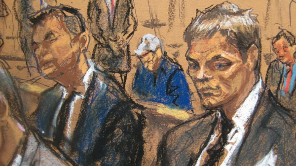 The courtroom sketch of Tom Brady.