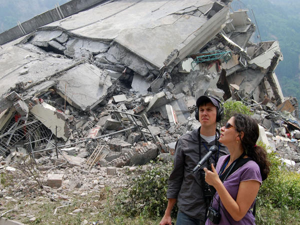 Melissa Block reporting in China in 2008. She was on a reporting trip to southwest China when a massive earthquake hit, leaving some 90,000 dead or missing.<em> </em>