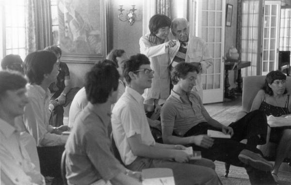 Seiji Ozawa (standing, left) and Leonard Bernstein join 1988 Tanglewood Music Center fellows at Seranak, the summer home of Tanglewood founder Serge Koussevitzky.
