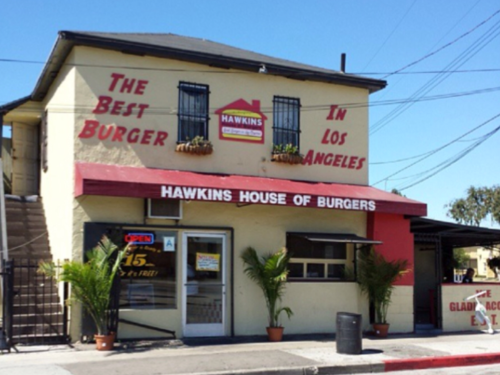 Hawkins House of Burgers is a family business in the Los Angeles neighborhood of Watts. When most storefronts were burned to the ground in the 1965 riots, this one was left standing.