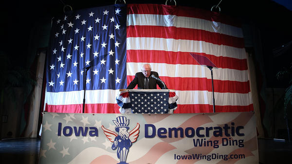 Democratic presidential candidate Sen. Bernie Sanders speaks at the Iowa Democratic Wing Ding  on Friday in Clear Lake, Iowa.
