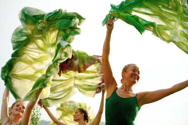 Dancers Rini Lovshin-Smith, Lindsay Halman, and Marya Carmolli play leaves of lettuce in Vermont's Farm to Ballet project.