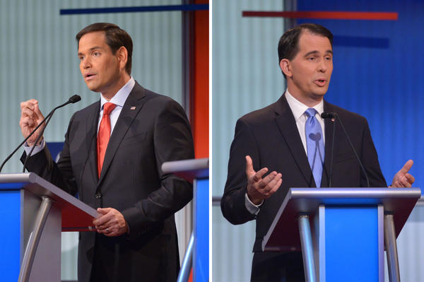U.S. Senator Marco Rubio of Florida (right) and Wisconsin Gov. Scott Walker are pictured at the Republican presidential primary debate on August 6, 2015 at the Quicken Loans Arena in Cleveland, Ohio. (Mandel Ngan/AFP/Getty Images)