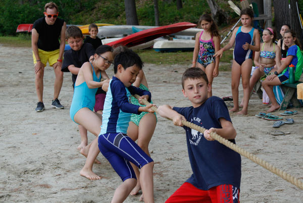 The youngest campers play tug of war at Camps Kenwood and Evergreen. (Sheila Pallay)