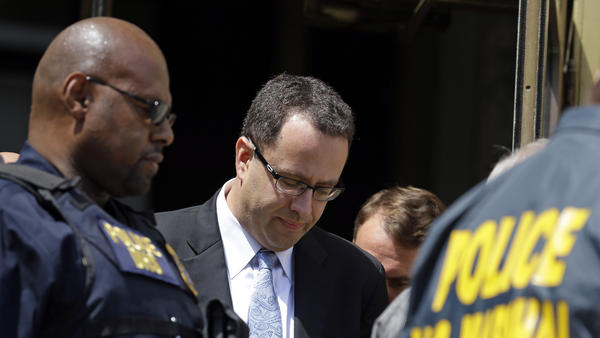 Former Subway pitchman Jared Fogle leaves the Federal Courthouse in Indianapolis, following a hearing on child-pornography charges on Wednesday