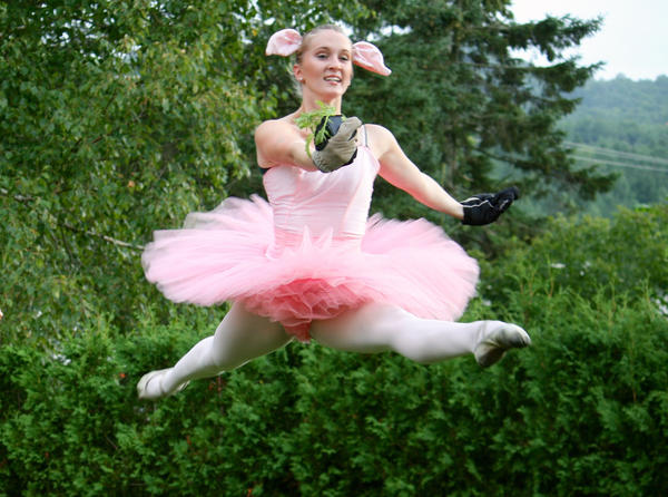 Kyla Paul performs a grand jete in the Farm to Ballet Project.