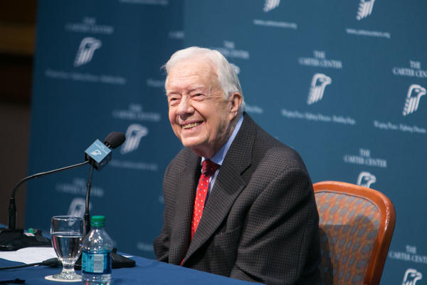 Former President Jimmy Carter discusses his cancer diagnosis during a press conference at the Carter Center on August 20, 2015 in Atlanta, Georgia. Carter confirmed that he has melanoma that has spread to his liver and brain and will start treatment today. (Jessica McGowan/Getty Images)
