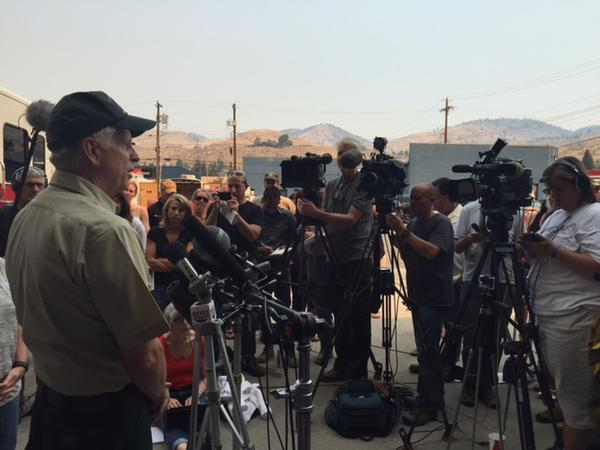 Reporters in Chelan, Washington, get an update on the wildfires burning across Washington state.