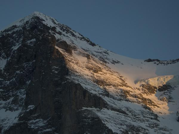 Mount Eiger in the Swiss Alps stands at 13,025 feet and is considered one of the most difficult Alpine climbs in Europe.