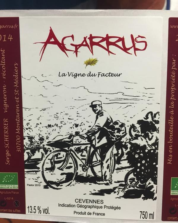 The label for <em>La Vigne du Facteur</em> — The Mailman's Vine — a rosé produced by Serge Scherrer. He's a part-time postman, part-time winemaker who was able to buy a parcel of land in Provence a decade ago because of the real estate crisis.