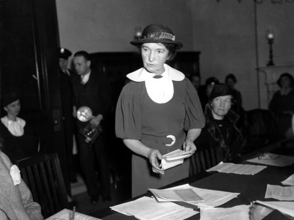 Margaret Sanger appears before a Senate committee for federal birth-control legislation in Washington, D.C., on March 1, 1934, arguing that federal courts be given the right to discuss contraceptive methods with their patients.