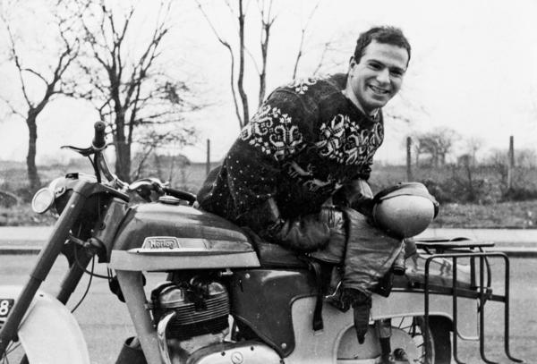 Sacks with his 250cc Norton motorcycle in 1956.