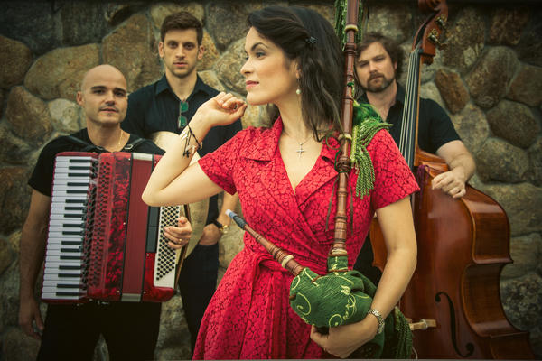Galician bagpiper Cristina Pato and her band.