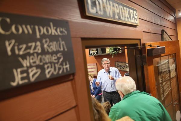 Former Florida Gov. Jeb Bush spoke at a Cedar Rapids Pizza Ranch restaurant in March.