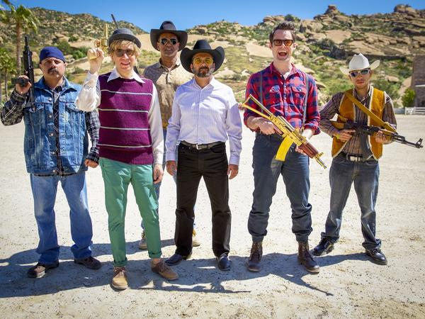 In <em>Dronez: The Hunt for El Chingon</em>, Armison and Hader play a pair of hipster reporters on the trail of a drug lord.