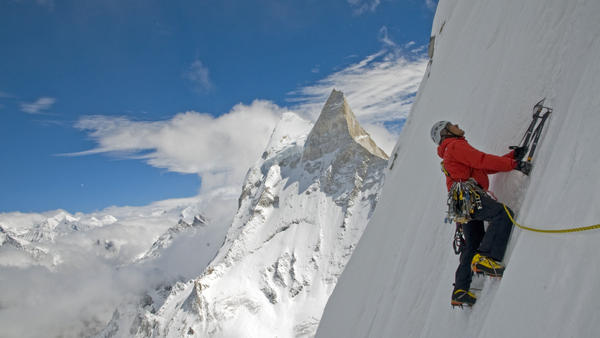 A climber takes on Meru Peak in Garwhal, India.