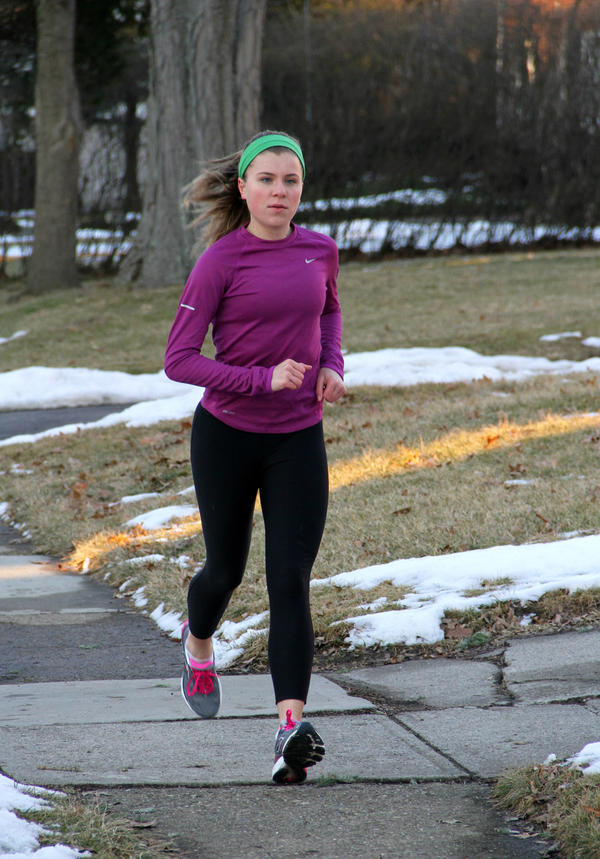 Regan Detweiler, training in February 2014 in Columbus, Ohio. A rigidly low-carbohydrate diet in high school left Detweiler vulnerable to stress fractures, doctors say. She's eating better now — and feeling better, too.