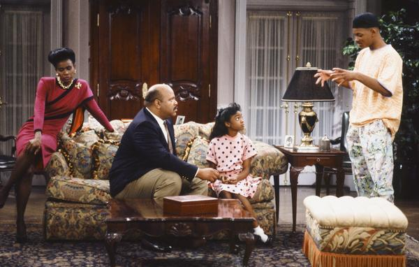 Janet Hubert (left), James Avery, Tatyana Ali and Will Smith in the first season of <em>Fresh Prince of Bel Air</em>.