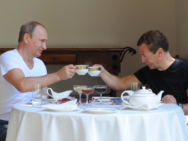Putin and Medvedev clinked teacups during their post-workout meal.