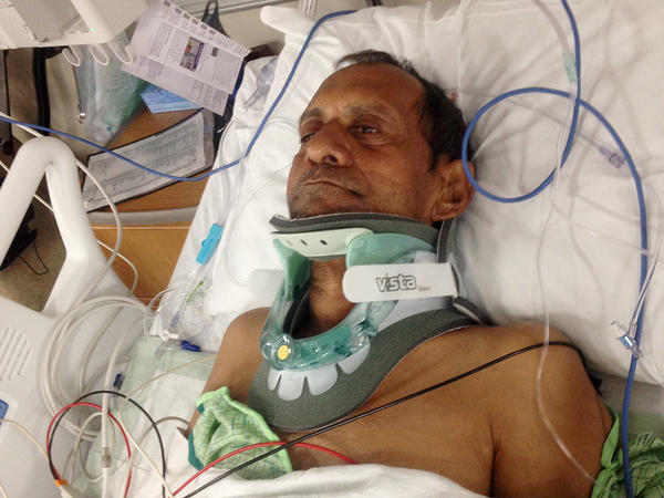 Sureshbhai Patel is shown in a bed at Huntsville Hospital in Huntsville, Ala., in February.