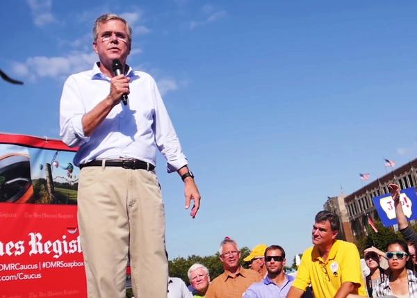 Jeb Bush campaigning at the Iowa State Fair in August 2015.