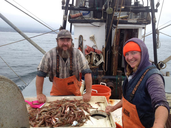 Keith and Tiffani Andrews fish for ridgeback shrimp on the fishing vessel Alamo.